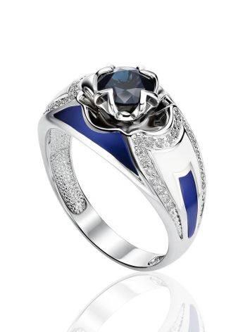 Designer White Gold Sapphire Diamond Ring With Enamel, Ring Size: 7 / 17.5, image