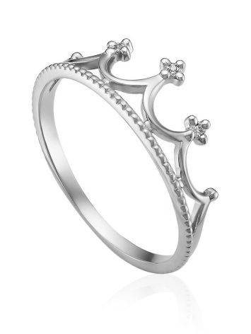 Chic Crown Design White Gold Diamond Ring, Ring Size: 5 / 15.5, image