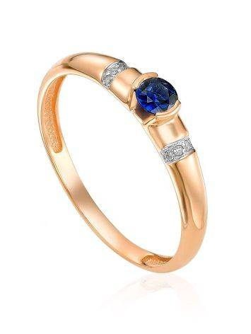 Refined Golden Ring With Sapphire And Diamonds, Ring Size: 6 / 16.5, image