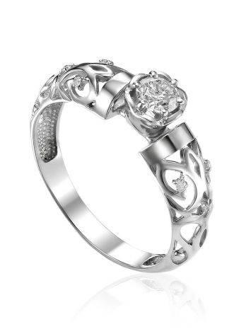 Ornate White Gold Diamond Ring, Ring Size: 8 / 18, image
