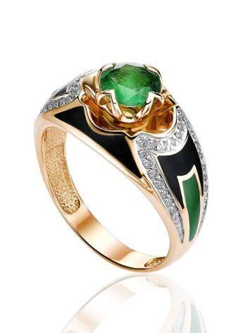 Designer Gold Diamond Emerald Ring With Enamel, Ring Size: 7 / 17.5, image