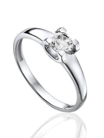 Classy White Gold Ring With Solitaire Diamond, Ring Size: 6.5 / 17, image