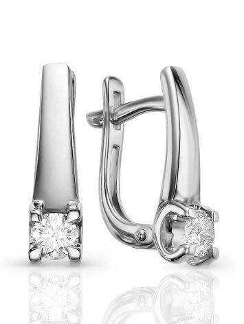 Minimalist White Gold Diamond Earrings, image
