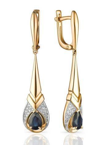 Art Deco Style Gold Sapphire Dangles With Diamonds, image