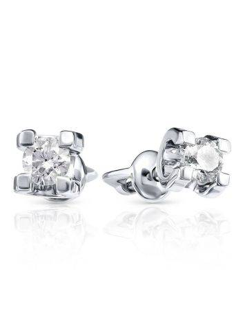 Chic White Gold Diamond Stud Earrings, image