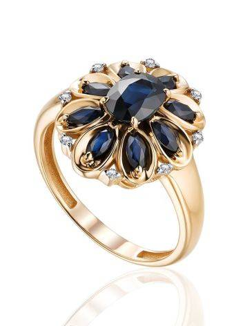 Vintage Style Gold Sapphire Diamond Ring, Ring Size: 9 / 19, image