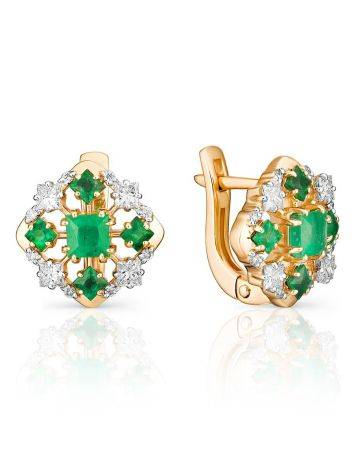 Lustrous Golden Earrings With Diamonds And Emeralds, image