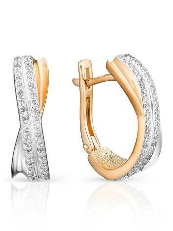 Contemporary Style Twisted Gold Diamond Earrings, image