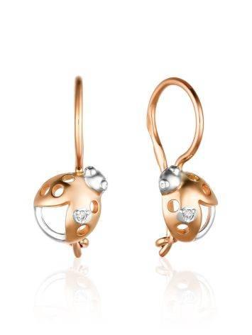 Mixed Gold Ladybug Earrings With Diamonds, image