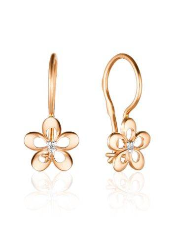 Floral Design Golden Earrings With Diamond Centerpieces, image