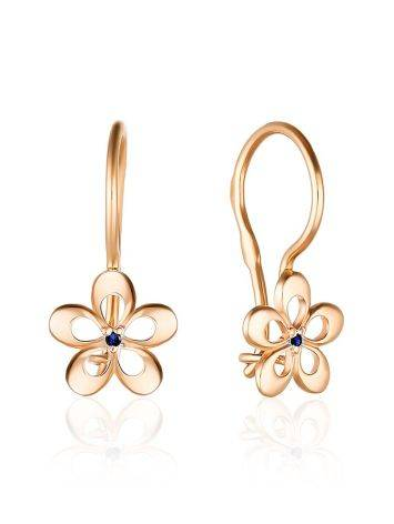 Cute Gold Sapphire Floral Earrings, image