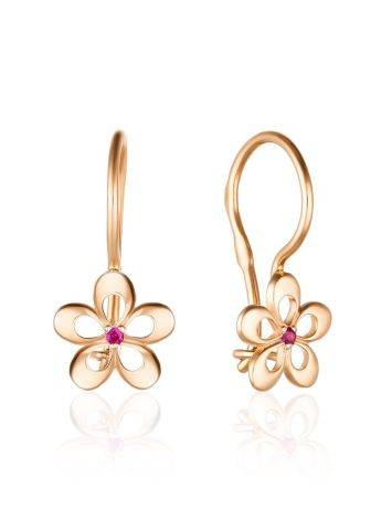 Floral Design Gold Ruby Earrings, image