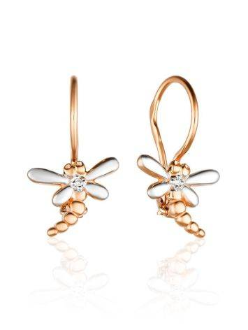 Mixed Gold Diamond Dragonfly Earrings, image
