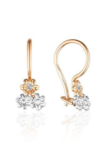 Mixed Gold Diamond Floral Earrings, image