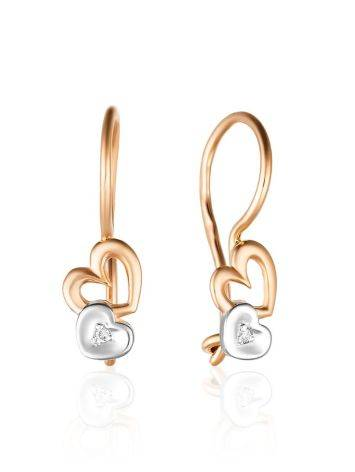Cute Heart Shaped Gold Diamond Earrings, image