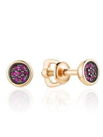 Simplistic Design Gold Ruby Stud Earrings, image