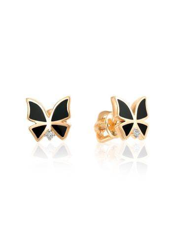 Chic Gold Diamond Butterfly Studs, image