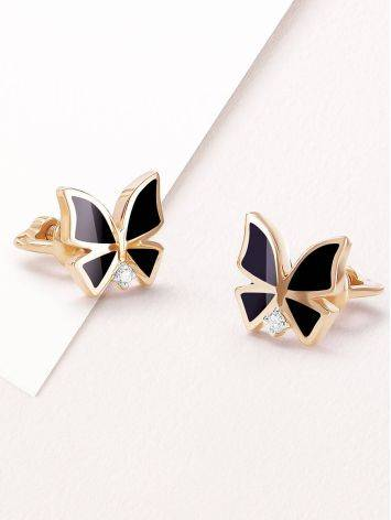 Chic Gold Diamond Butterfly Studs, image , picture 2