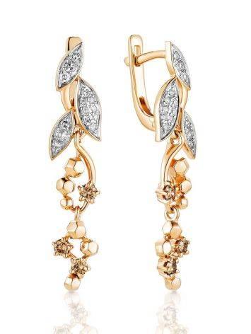 Wonderful Gold Diamond Dangle Earrings, image