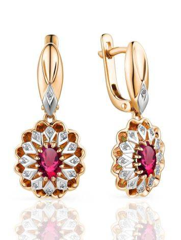 Gorgeous Golden Dangle Earrings With Ruby And Diamonds, image