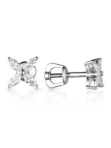 Minimalist White Gold Diamond Stud Earrings, image , picture 2