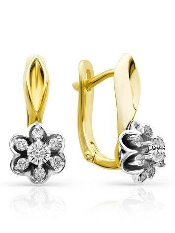 Refined Two Tone Gold Diamond Earrings, image