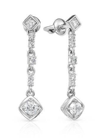 Ultra Feminine White Gold Diamond Dangles, image