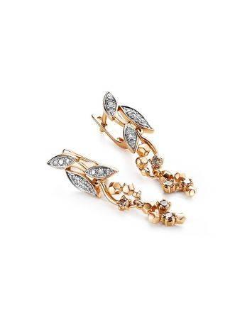 Wonderful Gold Diamond Dangle Earrings, image , picture 2