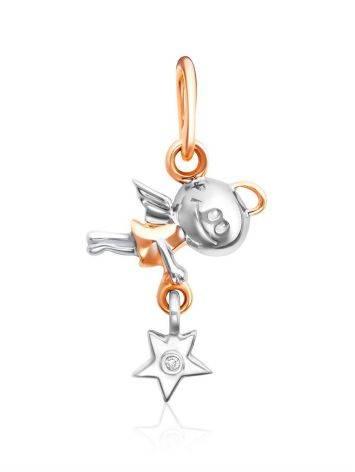 Cute Mixed Gold Diamond Angel Shaped Pendant, image