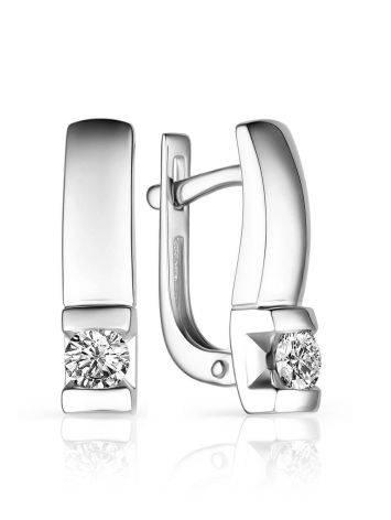 Simplistic Design White Gold Diamond Earrings, image