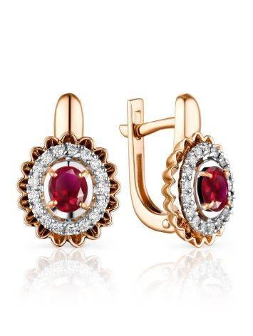 Chic Gold Ruby Diamond Earrings, image