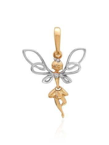 Charming Fairy Shaped Gold Diamond Pendant, image