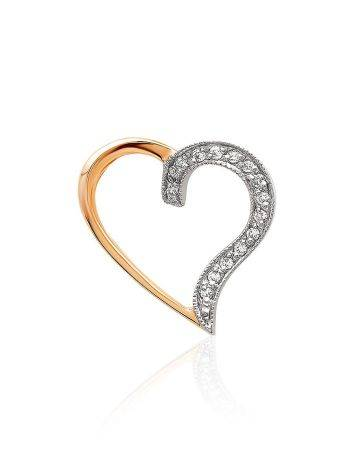 Romantic Gold Diamond Heart Shaped Pendant, image