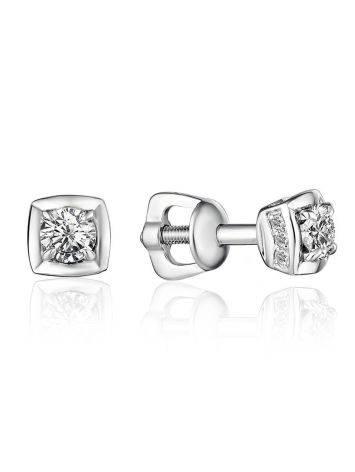 Bright White Gold Diamond Studs, image