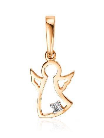 Cute Golden Angel Pendant With Diamond, image