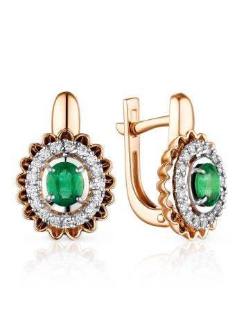 Gorgeous Gold Diamond Emerald Earrings, image