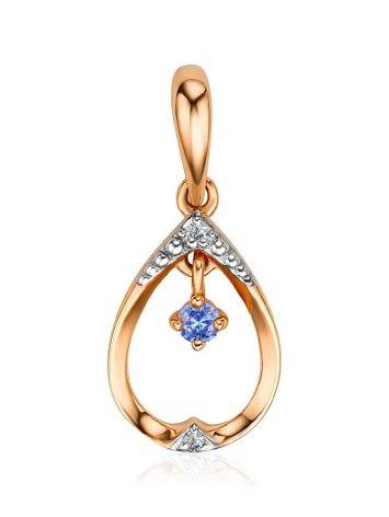 Charming Golden Drop Shaped Pendant With Tanzanite And Diamonds, image