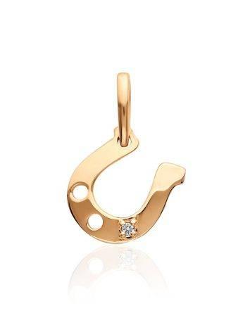 Horseshoe Shaped Gold Diamond Pendant, image