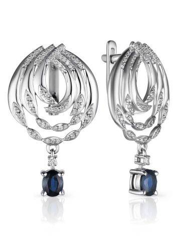Ultra Chic White Gold Diamond Earrings With Sapphire Dangles, image
