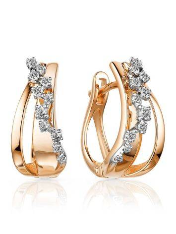 Refined Gold Diamond Earrings, image