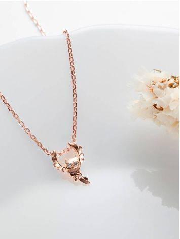 Gold Diamond Owl Shaped Pendant, image , picture 2