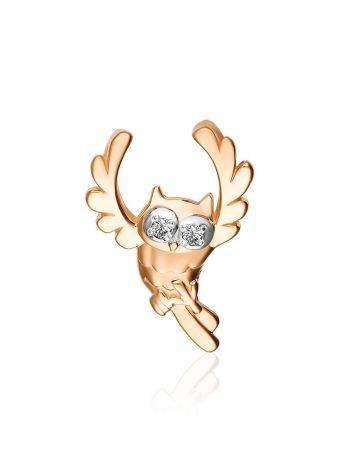 Gold Diamond Owl Shaped Pendant, image