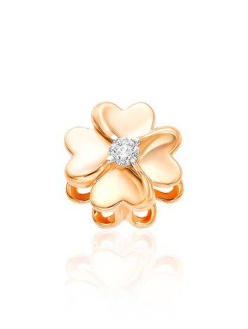 Tiny Gold Diamond Clover Pendant, image