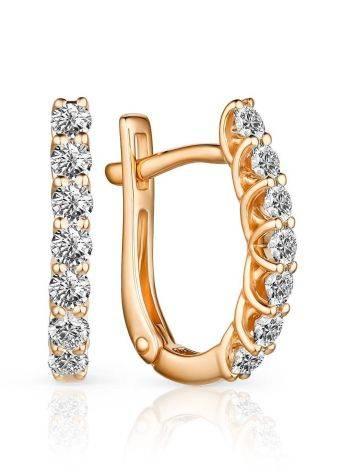 Stylish Gold Diamond Earrings, image