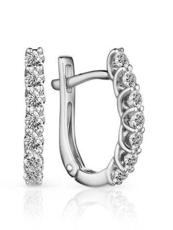 Stylish White Gold Diamond Earrings, image