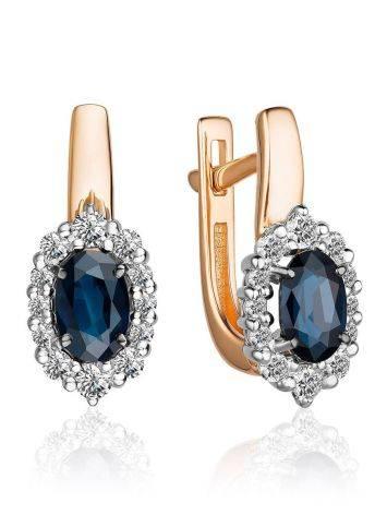 Classy Gold Diamond Sapphire Earrings, image