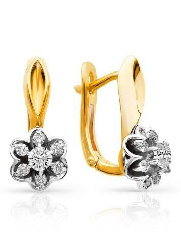 Elegant Golden Diamond Earrings, image