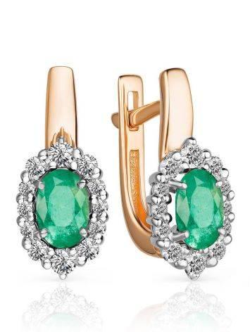 Elegant Gold Emerald Earrings With Diamonds, image