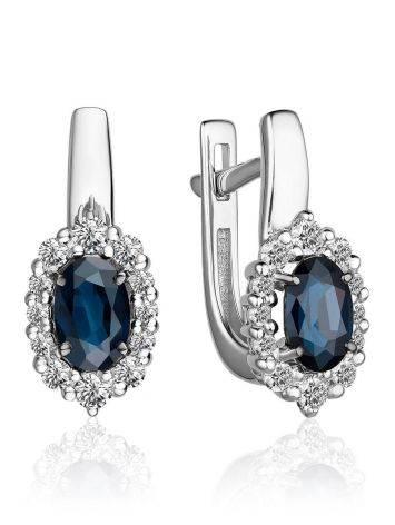 Classic Design Gold Sapphire Diamond Earrings, image