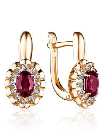 Gorgeous Gold Diamond Ruby Earrings, image